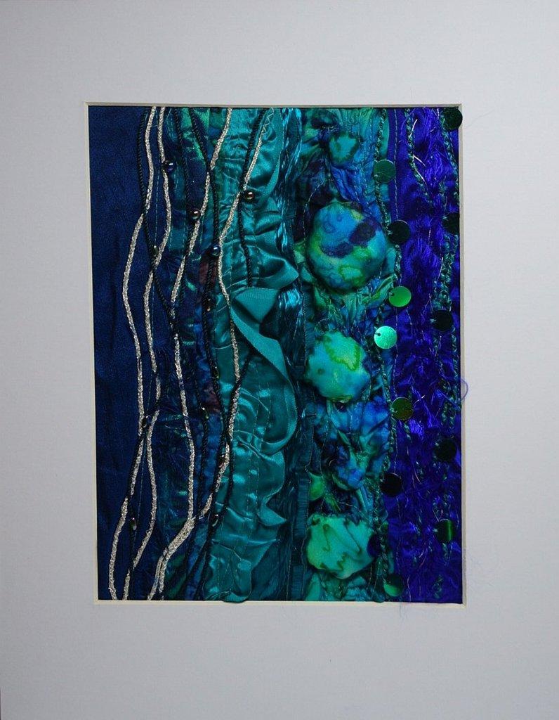 blue silk wall art